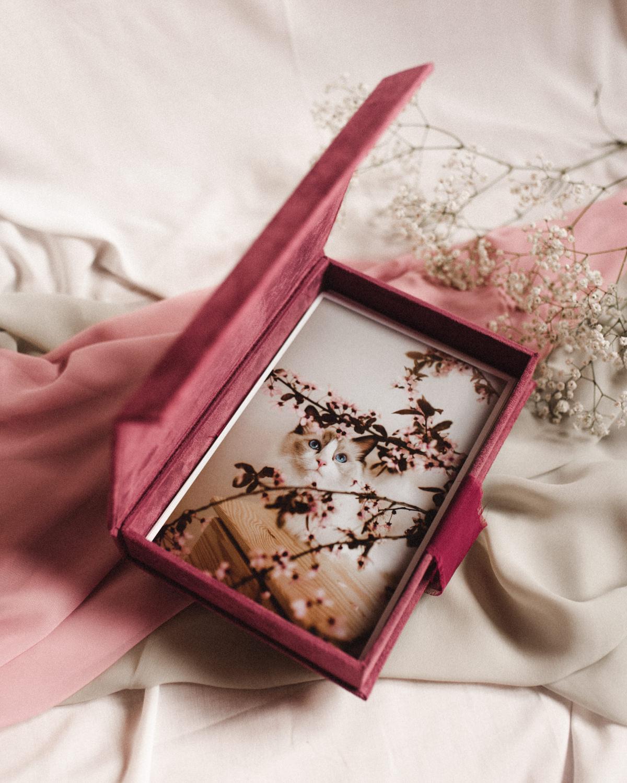 ewelina zieba pudelko na zdjecia malinowy roz ze zlotym napisem milosc 05